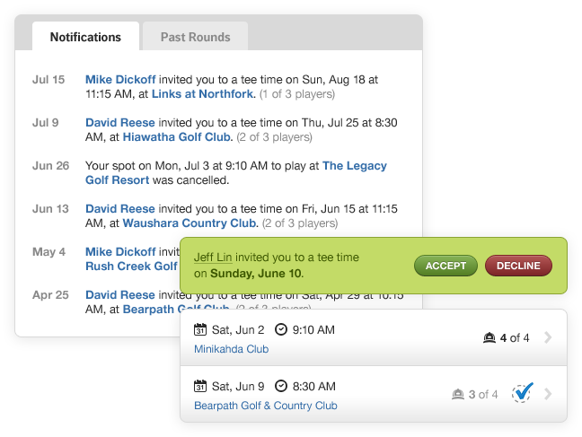 Notifications, Invitation & Upcoming Tee Times